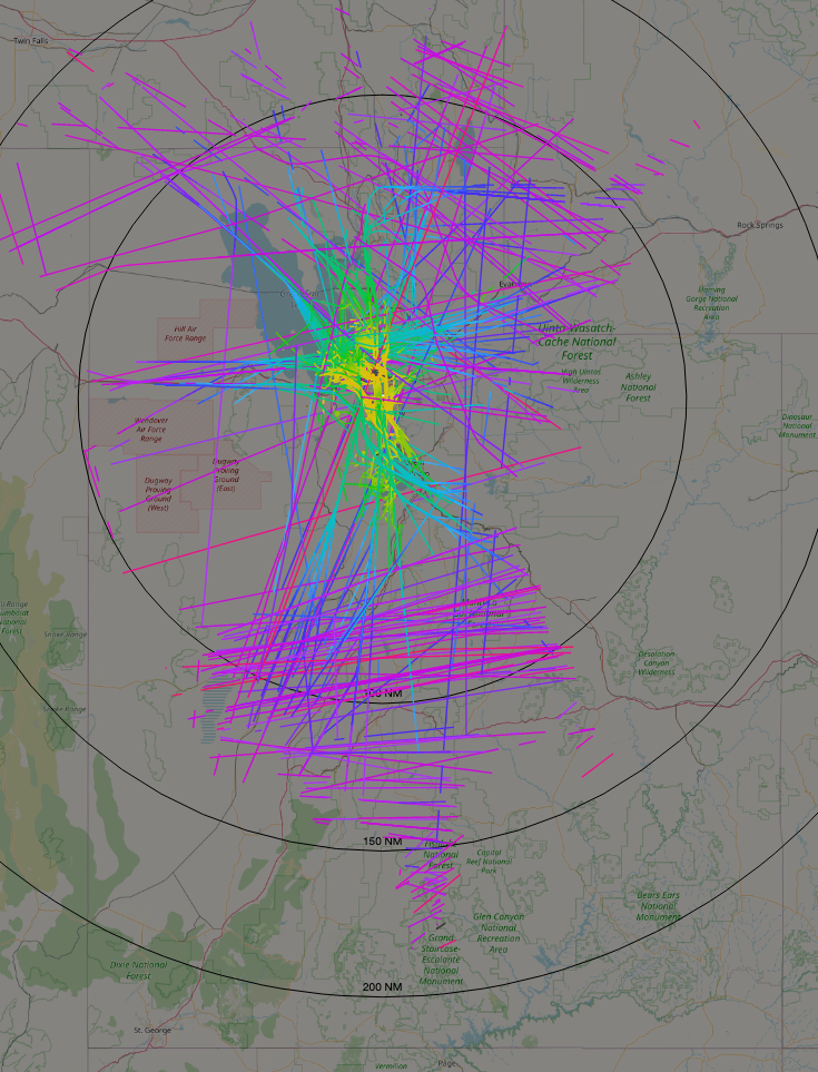 A visualization of the ADS-B coverage provided by my own receiver.